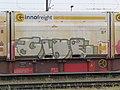 2018-05-04 (111) Graffiti at freight wagon 31 81 4575 728-8 at Bahnhof Ybbs an der Donau, Austria.jpg