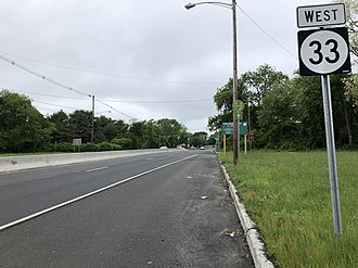 New Jersey Route 33 - Route 33 westbound past Route 18 interchange in Neptune Township