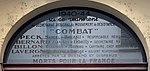 20 rue Vauban à Lyon - plaque commémorative mouvement Combat (gros plan).jpg