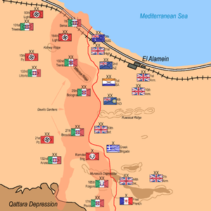 133rd Armoured Division Littorio - Deployment of forces on the eve of the second battle of El Alamein. Littorio can be seen held in reserve behind the Infantry divisions