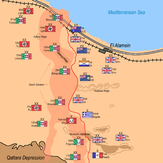 102nd Motorised Division Trento - Division locations before the Second Battle of El Alamein