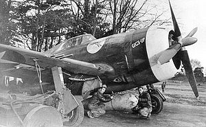 "486th Fighter Squadron - P-47D Thunderbolt 42-22548 ""Gigs-Up"" of the 486th Fighter Squadron at RAF Bodney, England"