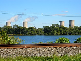 Three Mile Island Nuclear Generating Station - Three Mile Island from Goldsboro, Pennsylvania in 2013