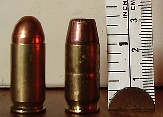 .45 ACP - .45 ACP cartridges full metal jacket (left) and hollow-point (right).
