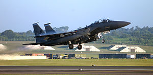 492d Fighter Squadron - A 492d Fighter Squadron F-15E Strike Eagle from RAF Lakenheath lifts off