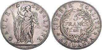 Subalpine Republic - 5 lire coin of the Subalpine Republic
