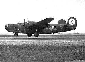 55th Air Refueling Squadron - Douglas-Tulsa B-24H-10-DT Liberator 41-28678 taking off from RAF Horsham St Faith, England.  Aircraft was lost due to mechanical failure on the 22 March 1944 mission to bomb the BMW engine factory at Basdorf outside Berlin, Germany. Eight of the crew became POWs and one was killed because he did not have the right type of harness for his parachute and went down with the plane.