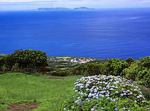 Graciosa - The island of Graciosa, from the São Jorge Island, Azores.