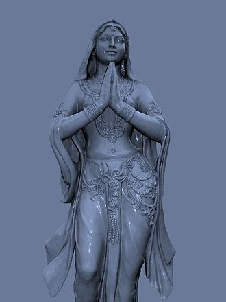 Añjali Mudrā - Statue with hands in most common Anjali Mudra position.
