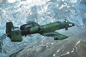 81st Training Wing - A 91st TFS A-10A in 1987 flying though the Pyrenees mountains between France and Spain.
