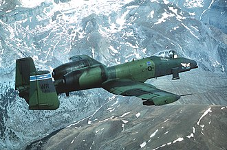 81st Training Wing - A 91st TFS A-10A in 1987 flying through the Pyrenees mountains between France and Spain.