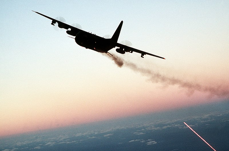 File:AC-130 gunship firing broadside at dusk.jpg