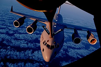 452nd Operations Group - C-17 of the 729th Airlift Squadron being refueled by a KC-135R of the 336th Air Refueling Squadron