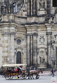 A Horse Drawn tram in front of the Cathedral, Dresden - 1388.jpg