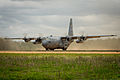 A Nevada Air National Guard C-130H Hercules aircraft prepares for takeoff at the Geronimo landing zone during Joint Readiness Training Center (JRTC) 14-05 training at Fort Polk, La., March 14, 2014 140314-F-XL333-065.jpg