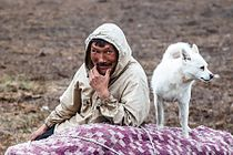 A Selkup man with his dog..jpg