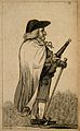 A character dressed eccentrically, holding an umbrella and w Wellcome V0007472.jpg