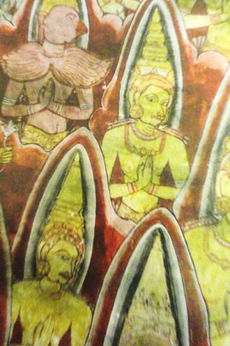 Kandyan Era Frescoes - A detail of gods in First Sermon at Dambulla Temple