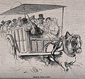 A horse-drawn carriage is carrying passengers. Wood engravin Wellcome V0040977.jpg