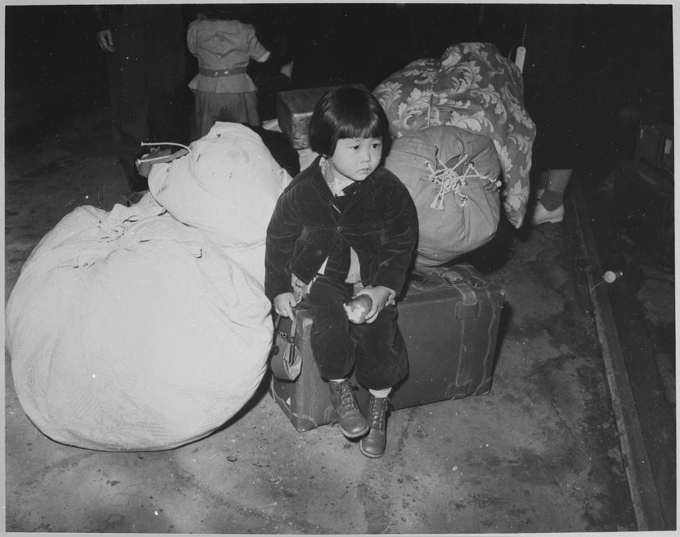 A young evacuee of Japanese ancestry waits with the family baggage before leaving by bus for an assembly center... - NARA - 539959