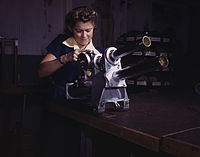 A young woman employee of North American Aviation, Incorporated, working over the landing gear mechanism of a P-51 fighter plane, Inglewood, Calif.jpg