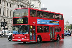 Abellio (London & Surrey) - Alexander ALX400 bodied Dennis Trident 2 on route 211 on Whitehall