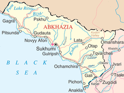 Location of New Athos (Novy Afon) within Abkhazia