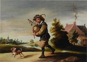 Abraham Teniers - A peasant playing a bagpipe in a landscape