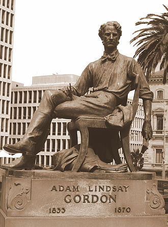 "Adam Lindsay Gordon - Statue of Gordon in Melbourne, erected in 1932 by public subscription. Carved beneath are the following lines from ""Ye Wearie Wayfarer"": ""Life is mainly froth and bubble / Two things stand like stone / Kindness in another's trouble / Courage in your own""."
