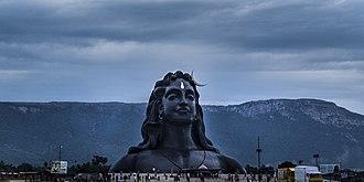Ayyavazhi - The Adiyogi Shiva statue at Isha Yoga Centre with the Ayyavazhi Thirunamam