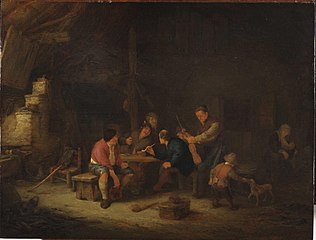 Peasant company in an interior with a man with a violin