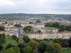 Aerial view over northern Bath from a hot air balloon. The famous Royal Crescent is in the centre.