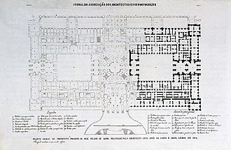 Palace of Ajuda - A plan of the Ajuda Palace (1866), by the Association of Portuguese Civil Architects
