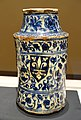 Albarelli pair with European armorial shields, 1 of 2, Syria, 15th century AD, underglaze-painted fritware - Aga Khan Museum - Toronto, Canada - DSC06529.jpg