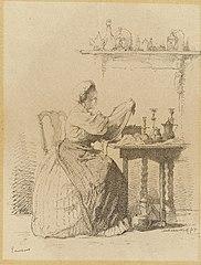 Ecureuse, een dienstmeisje dat aan tafel zit te poetsen.