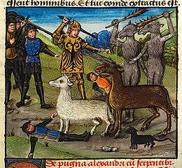 Alexander fighting the dog-headed Cynocephali