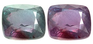 Alexandrite Cushion, 26.75 cts. Bluish green i...