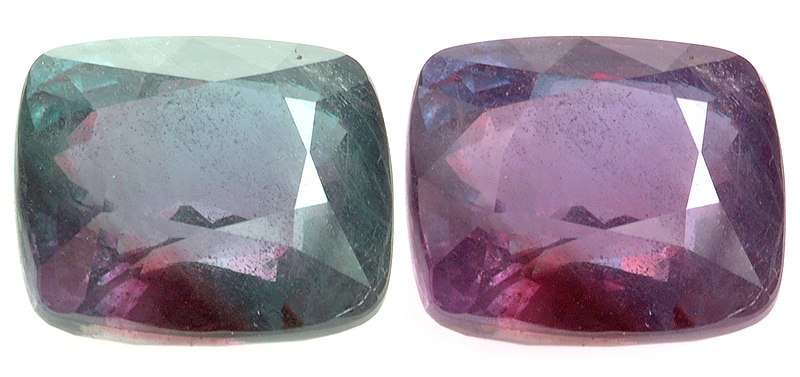 Photographed by David Weinberg for Alexandrite.net and released to the public domain. Alexandrite.net contributors. Step Cut Alexandrite Cushion, 26.75 cts. In Alexandrite.net, Tsarstone collectors guide. December 07, 2006, 16:42 UTC. Available at: http://www.alexandrite.net/viewpage.html?id=ALX-001-00001. Accessed February 26, 2007.