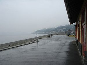 Alki Point, Seattle - Alki Beach on a rainy day
