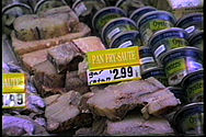 Market display of gar fillets