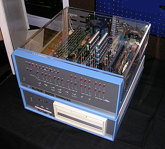 Altair computer with cover removed. The front panel has two rows of LEDs and two rows of switches.