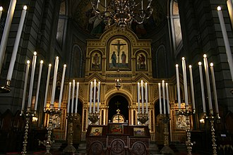 Saint Spyridon Church, Trieste - Image: Altar of the Saint Spyridon Church