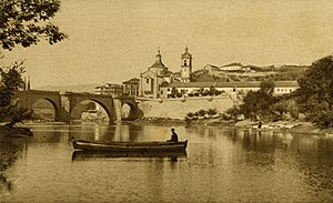 Amarante, Portugal - A view of the church and monastery of Amarante alongside the Tâmega River in 1910