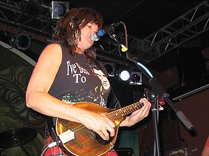 Cultural impact of Elvis Presley - Folk rock musician Amy Ray wearing an Elvis shirt onstage