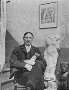 André Derain, photograph published in Gelett Burgess, The Wild Men of Paris, Architectural Record, May 1910, sculpture-Nu debout (Standing Woman), 1907.jpg