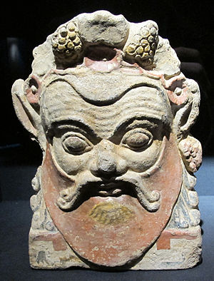 Lanuvium - Terrecotta antefix with the head of a Silen; c. 500-490 BC., from the Baths of Diocletian at Lanuvium