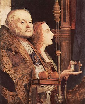 San Cassiano Altarpiece - Detail of St. Nicholas and Mary Magdalene.