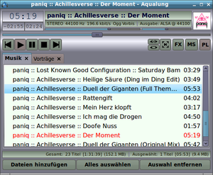 Aqualung (software) - Image: Aqualung screenshot main playlist metal