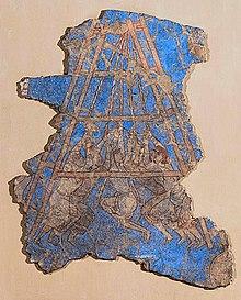 Árabes cercando a cidade de Samarcanda, capturada em 722 dC, Palácio de Devastich (706-722), Penjikent mural.jpg