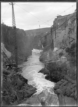 Arapuni Power Station -  The Arapuni Gorge during the construction of the power station, 1929